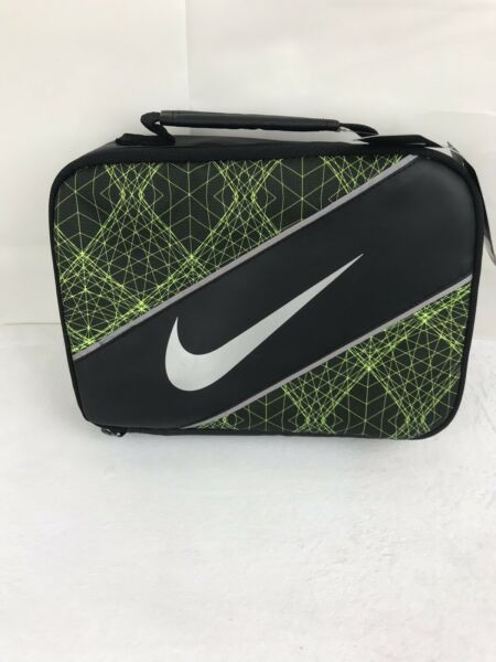 Nike insulated lunch bag pack cooler zipper black with green