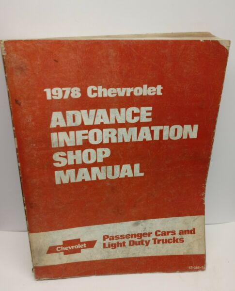 1978 Chevrolet Advance Information Shop Manual - Passenger Cars