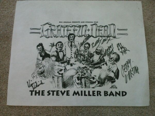 GRATEFUL DEAD AUTOGRAPHED S MILLER TEST PRINTING CONCERT PELON FROM BAND RAM ROD