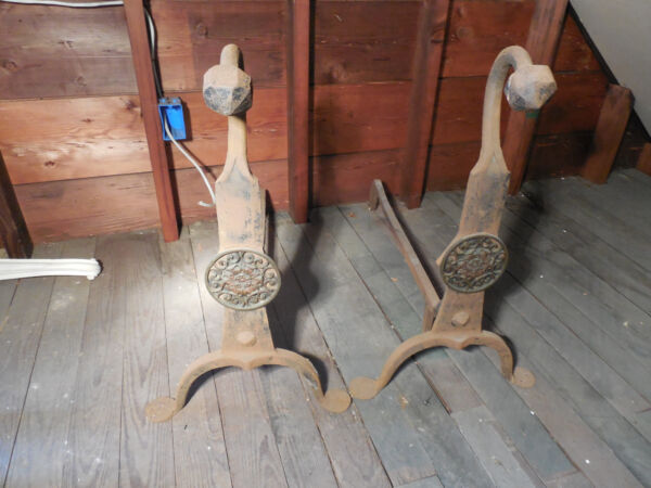 OLD FIRE PLACE LOG HOLDER ANTIQUE FIREPLACE WROUGHT IRON OLD  FIRE PLACE TOOLS