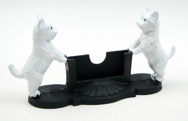 Painted CAST IRON White Dog Business Card Holder $27.99