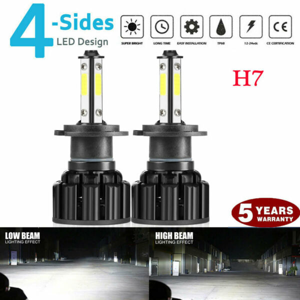 4-sides H7 CREE LED Headlight Kit 2000W 300000LM Hi/lo Beam Bulbs 6000K White