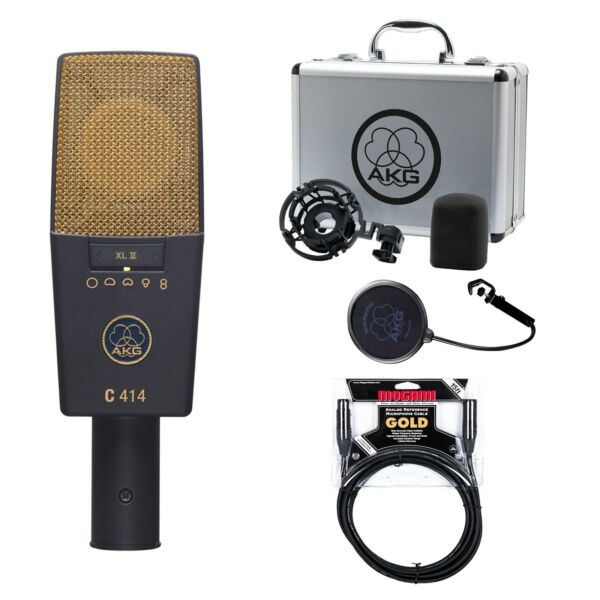 AKG C414 XLII Microphone w Premium 15-foot XLR Mogami Gold Cable Bundle