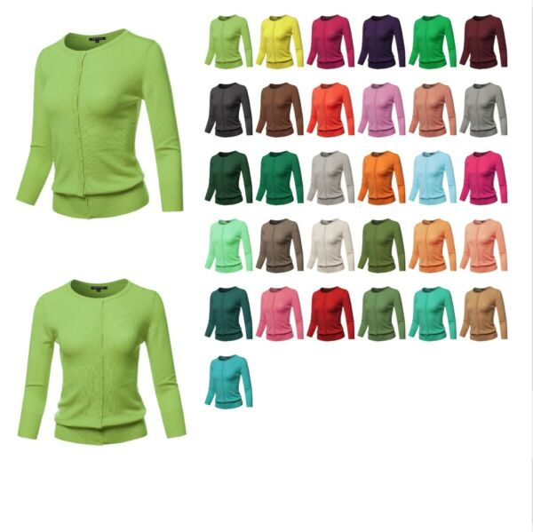 FashionOutfit Women's Solid Crew Neck Button Down 34 Sleeves Knit Cardigan