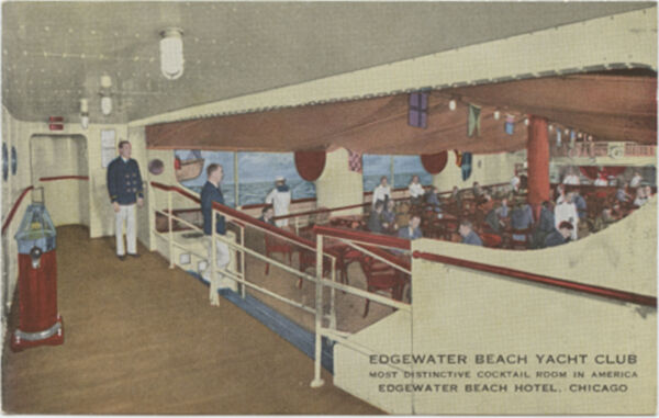 Edgewater Beach Yacht Club Cocktail Room Hotel Chicago IL Illinois Postcard