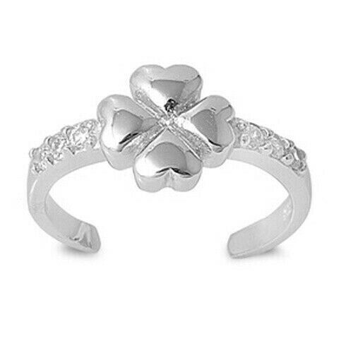 Four Leaf Clover Toe Ring Genuine Sterling Silver 925 Clear CZ Face Height 7 mm