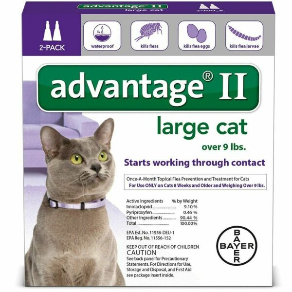 Advantage II for Large Cats over 9 lbs - 2 Dose Pack  - EPA Approved!!
