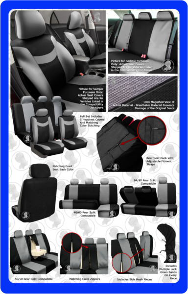 Gray & Black Complete Full Car Seat Covers Set - OEM Split Fold Truck SUV Lk
