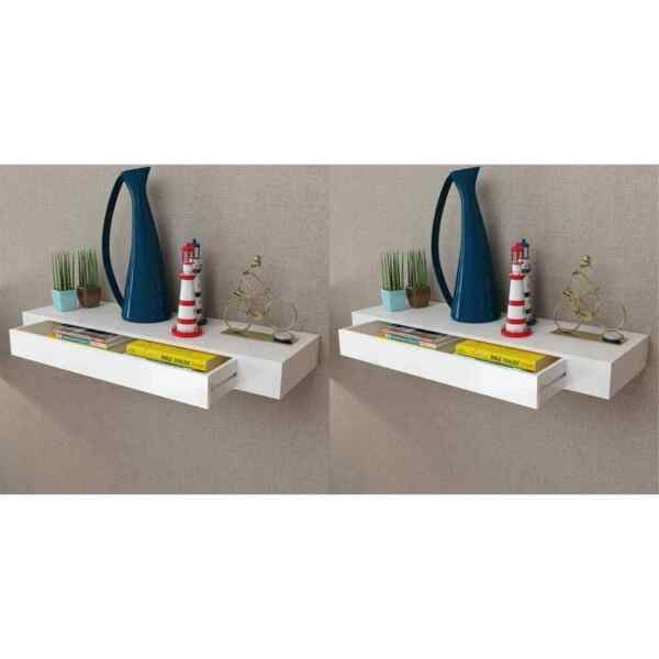 vidaXL 2x Floating Wall Shelves with Drawers White 31.5