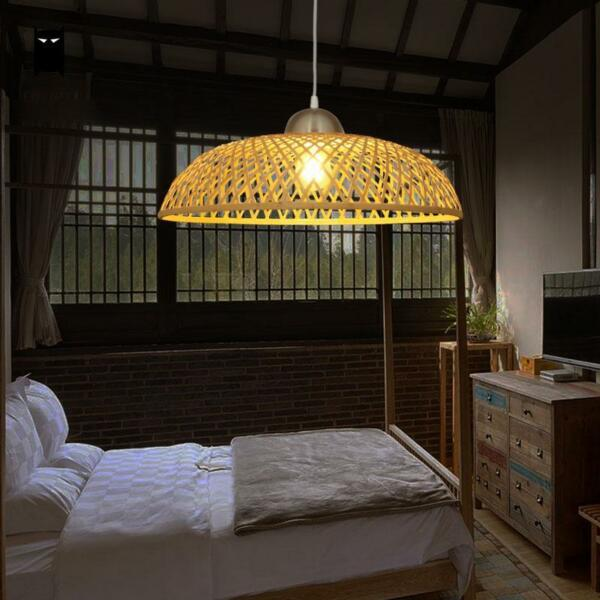 Bamboo Wicker Rattan Cap Shade Pendant Light Fixture Vintage Rustic Ceiling Lamp