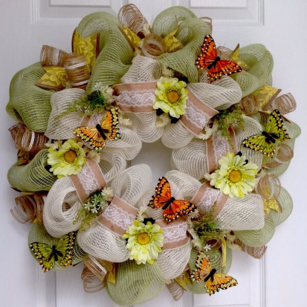 Beautiful Butterflies Burlap And Lace Deco Mesh Spring Or Summer Wreath