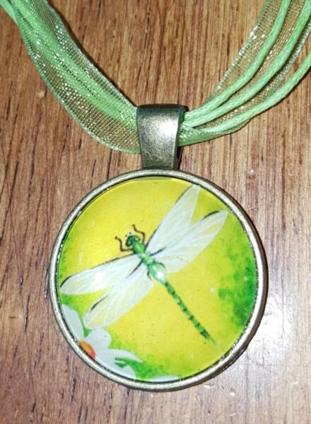 GREEN DRAGONFLY NECKLACE DRAGONFLY PENDANT NATURE LOVER BIRTHDAY GIFT BOHO NEW