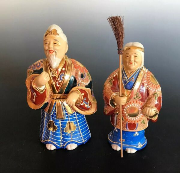 Japanese Ceramic Satsuma Vintage Dolls Takasago Happiness and Good Fortune
