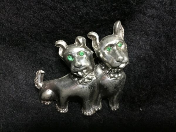 RARE METAL PIT BULL DOG PUPPY PAIR GREEN JEWELED EYES PIN BROACH SPIKE COLLAR