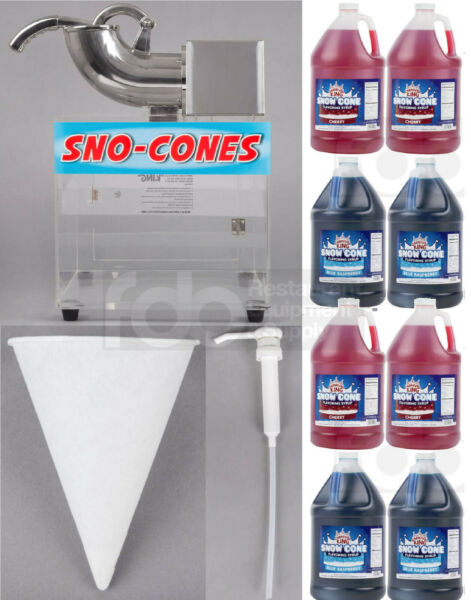 8 GALLON SYRUP 5000 PAPER CONE PUMPS COMMERCIAL SNOW CONE MACHINE KIT