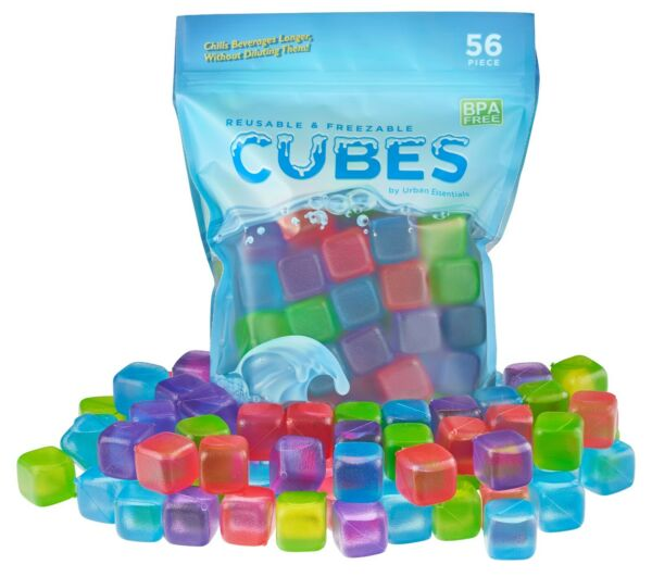 56 Piece Plastic Reusable Ice Cubes Coolers Refreeze Pool Party BPA FREE $12.99