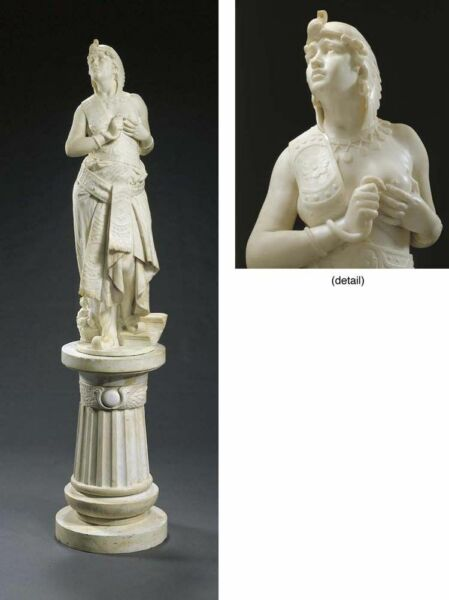 19C Life-Size Italian Marble Statue Cleopatra wMatching Pedestal by Romanelli