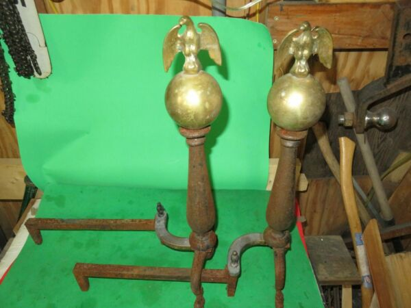 vintage andirons firedogs fireplace brass eagles 22quot; VERY NICE DISPLAY ITEM