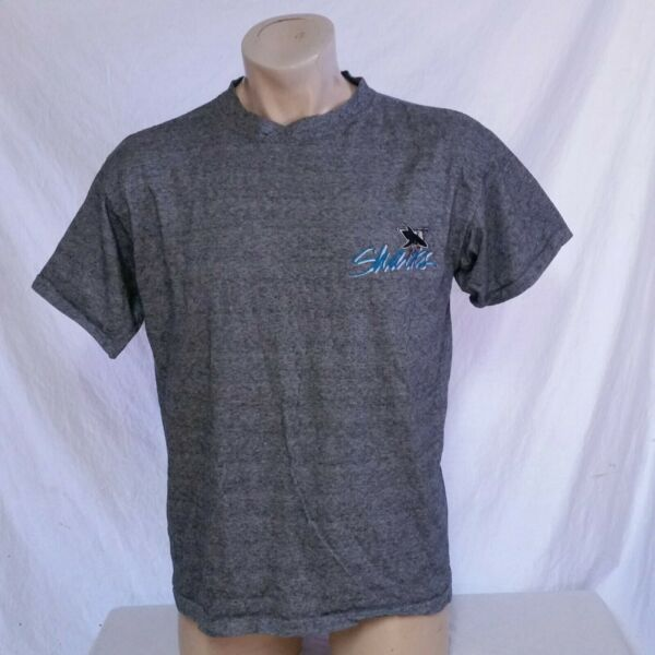 VTG 90s San Jose Sharks T Shirt The Game Striped NHL Hockey Graffiti Logo Large
