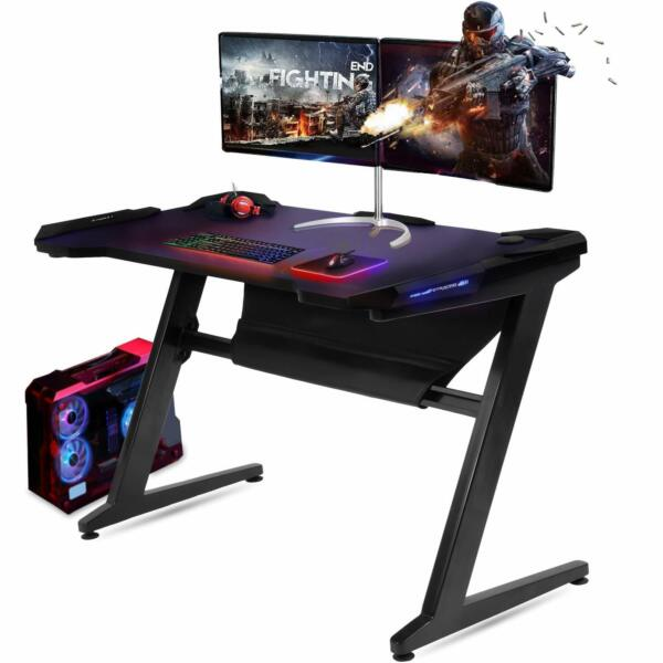 Gaming Desk Computer Table Z-Shaped with LED Light GTRACING Durable Desk New