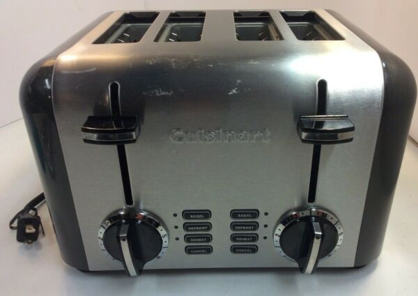 Cuisinart 4 Slice Toaster Bagel Model CPT 240TN Stainless PreownedKitchen.com