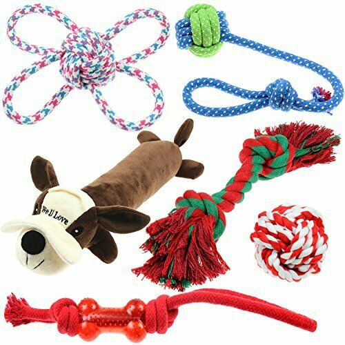 Dogs Chew Toys Bundle with Cotton Dog Rope Balls Squeak Plush Dog Toy (Set of 6)