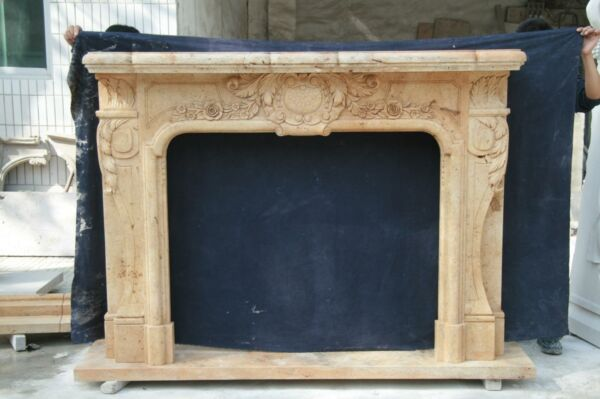 LARGE HAND CARVED ESTATE EUROPEAN STYLE FIREPLACE MANTEL -FFP54