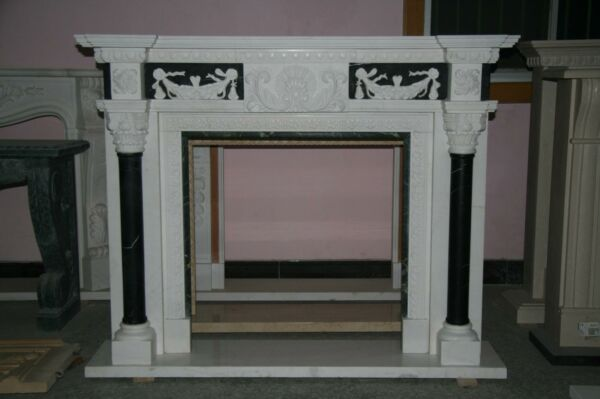BEAUTIFUL HAND CARVED ESTATE MARBLE FIREPLACE MANTEL - FPM5