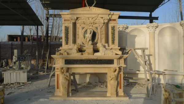 BEAUTIFUL HAND CARVED MARBLE FIGURATIVE EAGLE INCREDIBLE FIREPLACE MANTEL - FM2