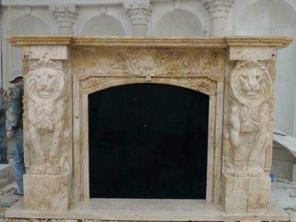 INCREDIBLE 28' HAND CARVED ESTATE LION MARBLE FIREPLACE MANTEL - FPM1