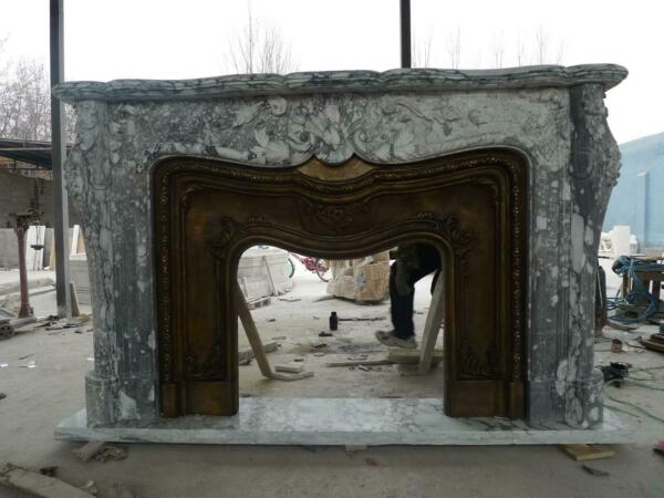 LARGE HAND CARVED MARBLE FRENCH STYLE FIREPLACE MANTEL WITH BRONZE  - FPM250
