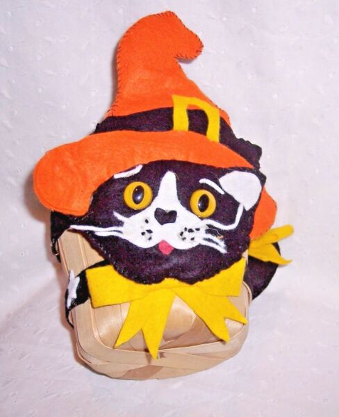 BLACK CAT PAIL BUCKET BASKET STRAW -HALLOWEEN FALL-HARVEST-CANDY PLANT TABLE