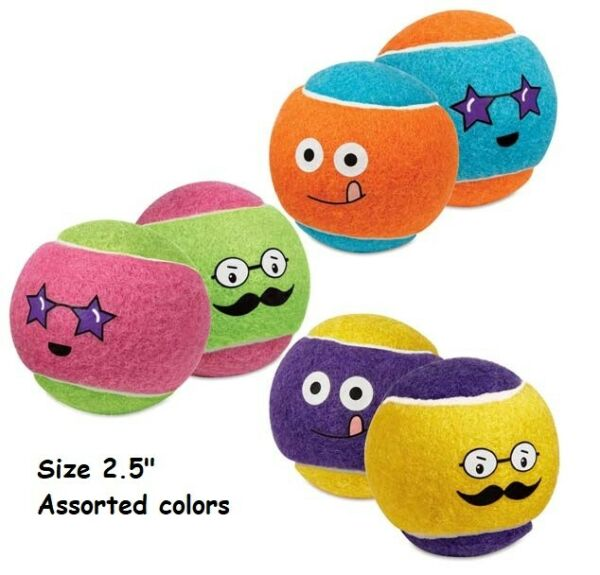 Dog Tennis Ball Toys Fetch Double Sided Funny Face Bright Color 2.5