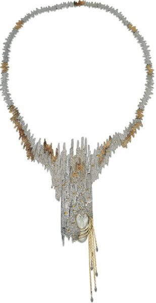Erte Diamond Yellow Sapphire Mother-of-Pearl Gold Sterling Brooch-Necklace