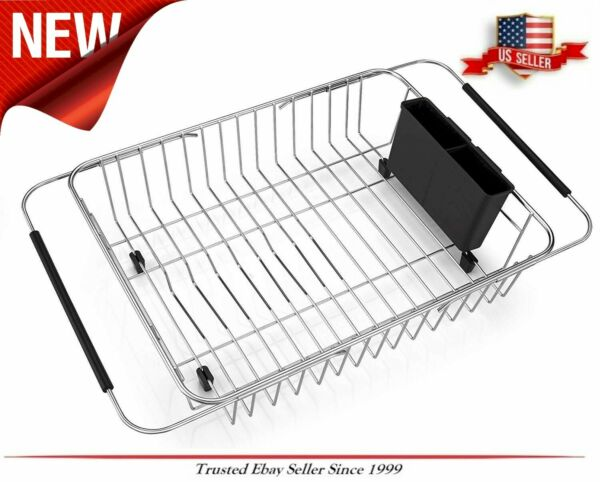 Rust Proof Expandable Stainless Steel Drying Dish Rack Adjustable Sink Counter