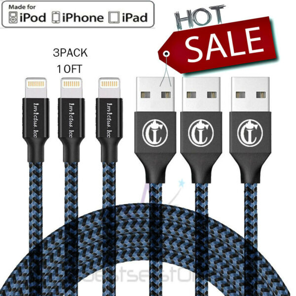 3Pack 10Ft Lightning Cable Heavy Duty For iPhone 8 7 6Plus Charger Charging Cord
