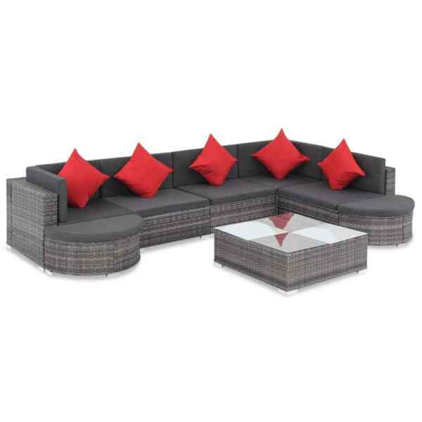 vidaXL Outdoor Sofa Set 27 Piece Poly Rattan Wicker Gray Patio Couch Lounge $793.99