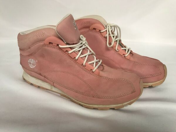 Timberland Pink Nubuck Leather Womens LACE UP ANKLE BOOTS Size 8.5 M $14.99