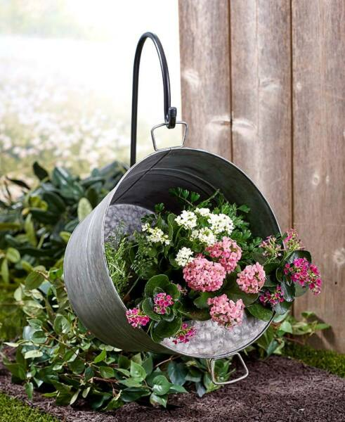 Rustic HANGING Galvanized PAIL FLOWER PLANTER w SHEPHERDS HOOK GARDEN Decor