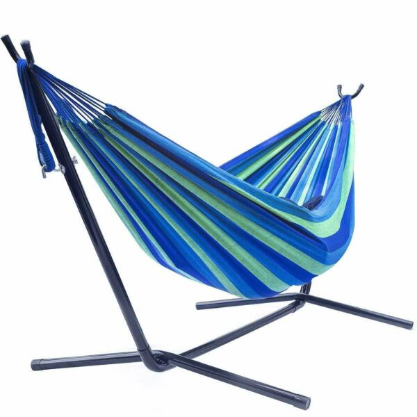 Blue Double Hammock With Space Saving Steel Stand Includes Carrying Case 450Lbs $59.99