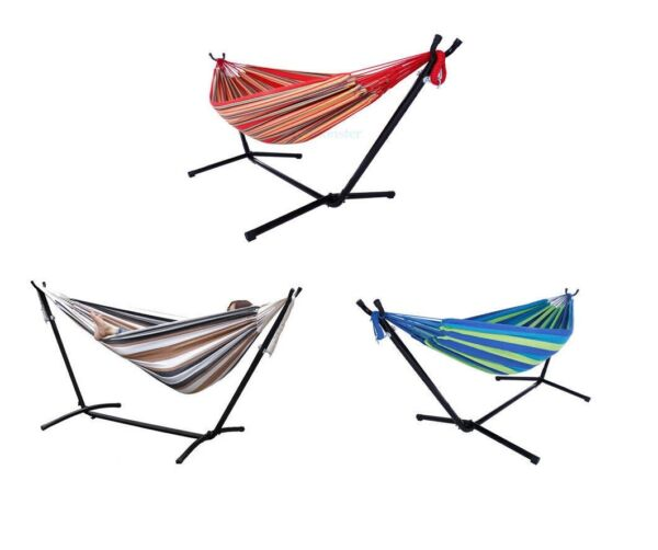 Multi color 2 Person Double Hammock With Space Saving Steel Stand Backyard 3 $74.99