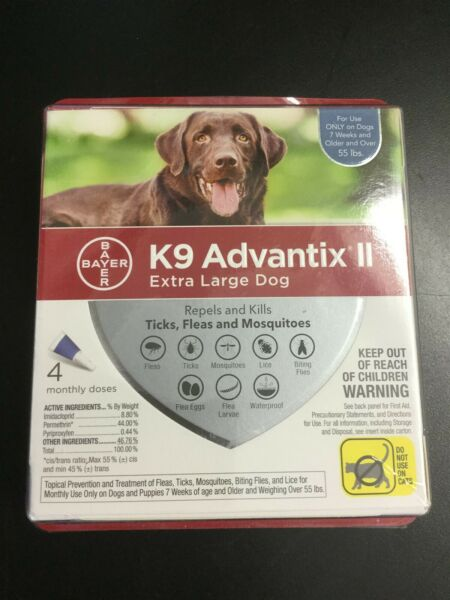 Bayer K9 Advantix II Flea and Tick Control for Dogs over 55 lbs 4 Pack #4103