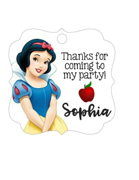 Personalized Snow White princess Disney birthday party favor tags- square cute!