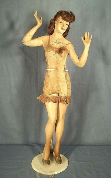 VINTAGE EARLY 20th C.TABLE TOP FLEXEES GIRDLE DISPLAY ADVERTISING MANNEQUIN