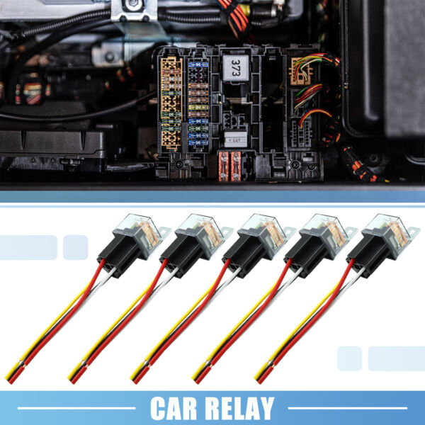 Waterproof DC 12V 80A SPST Auto Car Relay 4 Pin 4 Wires w Harness Socket 5pcs