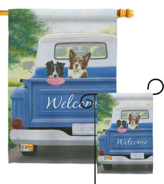 Play Day With Buddy Pets Dogs Doggie Puppy Truck  Friend Garden House Yard Flag