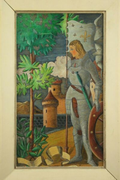 † ST JOAN of ARC VINTAGE PYROGRAPHY SIGNED HAND PAINTED WOOD PANEL FRAME FRANCE