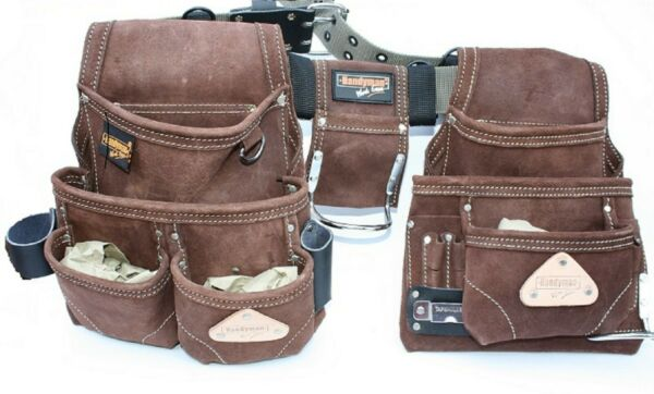 Double Suede Leather Tool Apron Carpenter Rig Movable Waist Pouch Hammer Holder