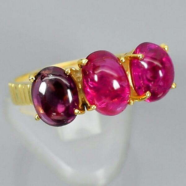 Dazzling! t.w 3pcs Natural Pink Tourmaline Ring in 925 Sterling Silver