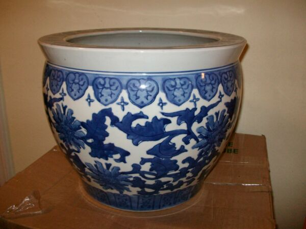 Large Blue Ceramic Planter for Plant CareHome Gardens Indoor and Outdoor